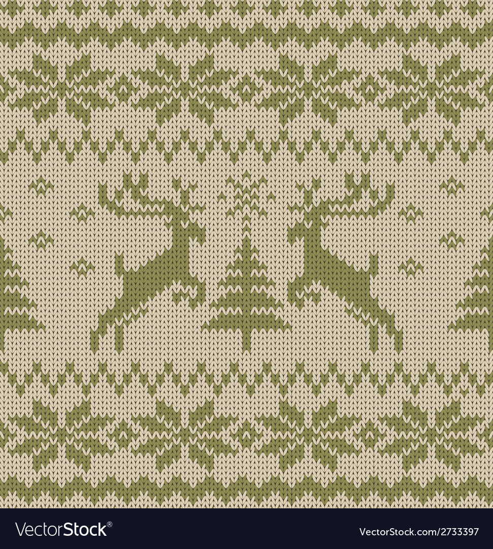 Seamless knitted pattern with deers vector | Price: 1 Credit (USD $1)