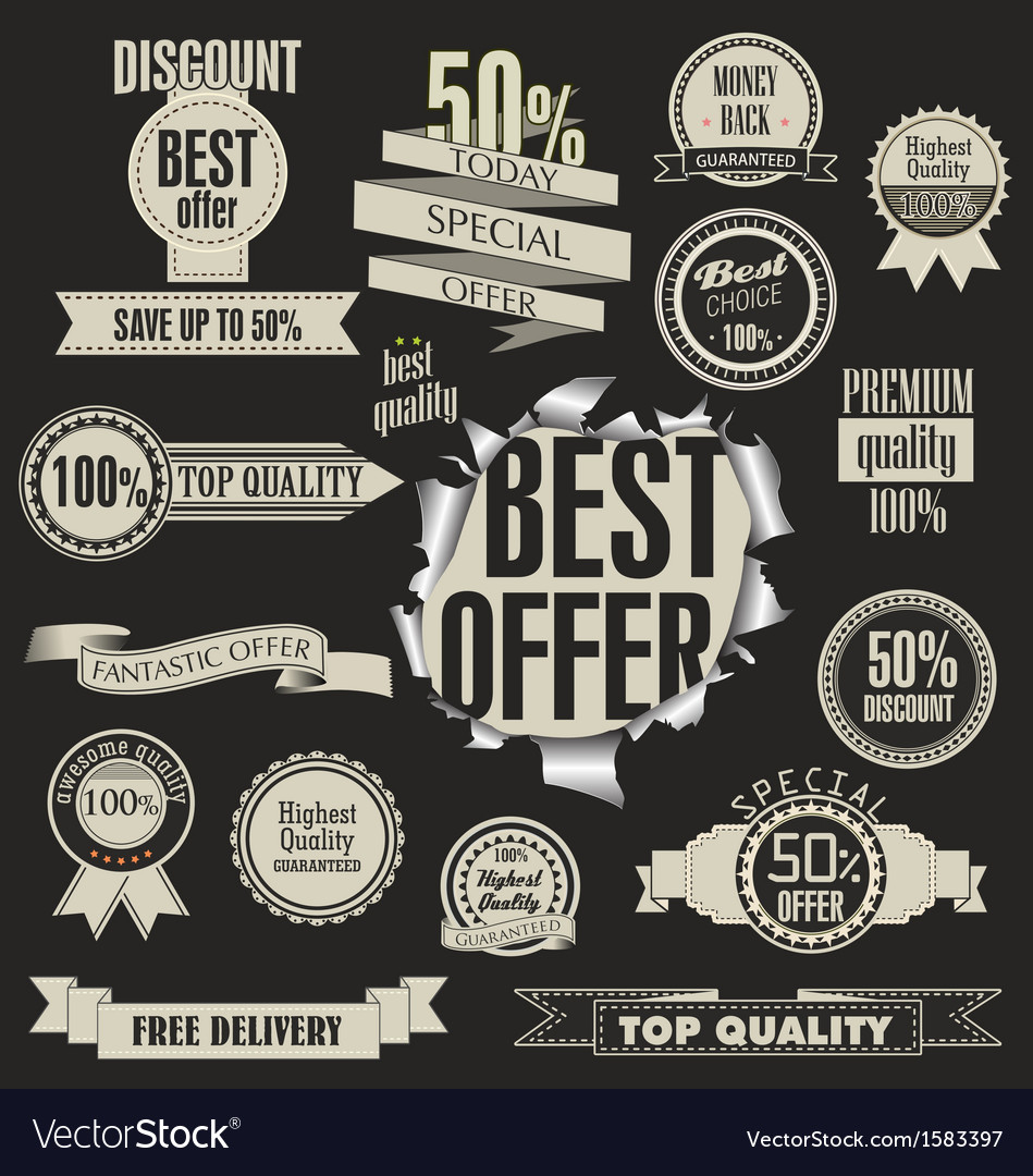 Set of badges labels and ribbons vector   Price: 1 Credit (USD $1)