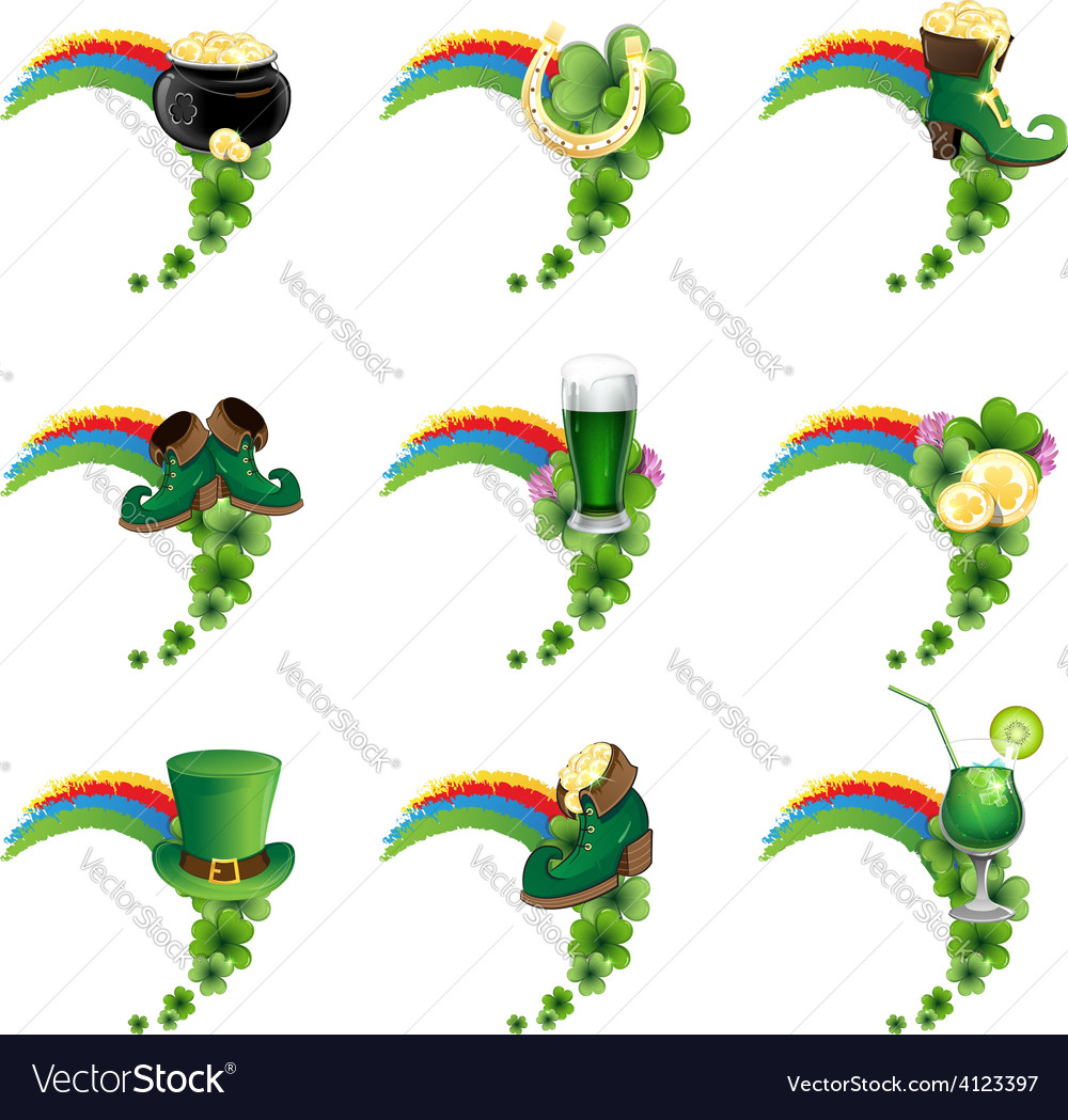 St patricks day icons vector | Price: 3 Credit (USD $3)