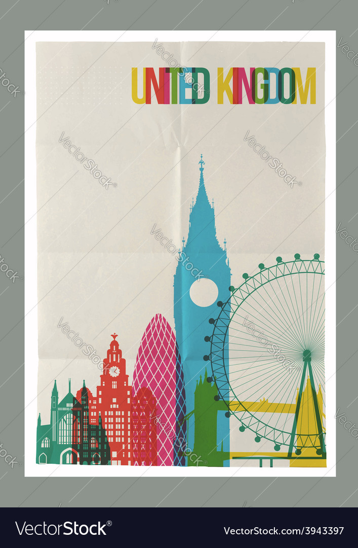 Travel united kingdom landmarks skyline vintage vector | Price: 1 Credit (USD $1)