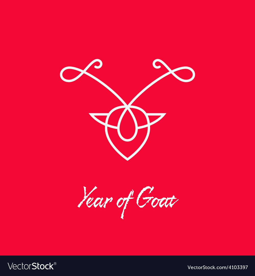 Year of goat monogram modern design element vector | Price: 1 Credit (USD $1)