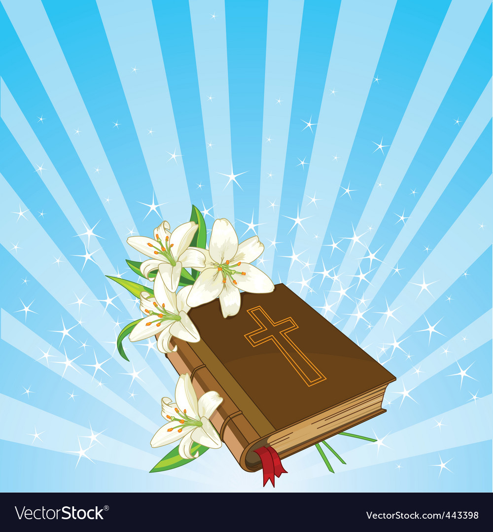 Bible and lily flowers background vector | Price: 1 Credit (USD $1)