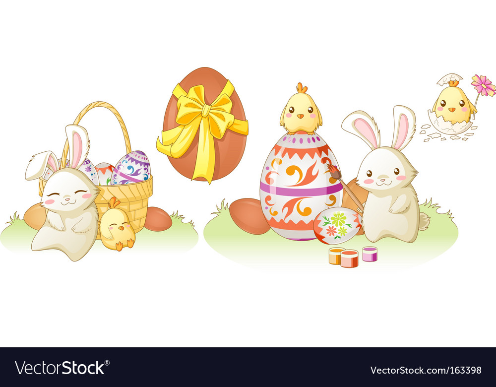 Easter bunny and chicken vector | Price: 1 Credit (USD $1)