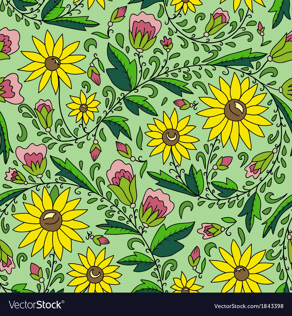 Flower sunflower leaves bud vector | Price: 1 Credit (USD $1)