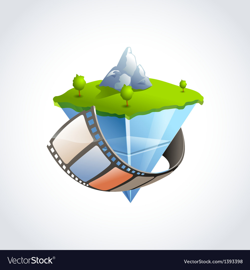 Flying island film vector | Price: 1 Credit (USD $1)