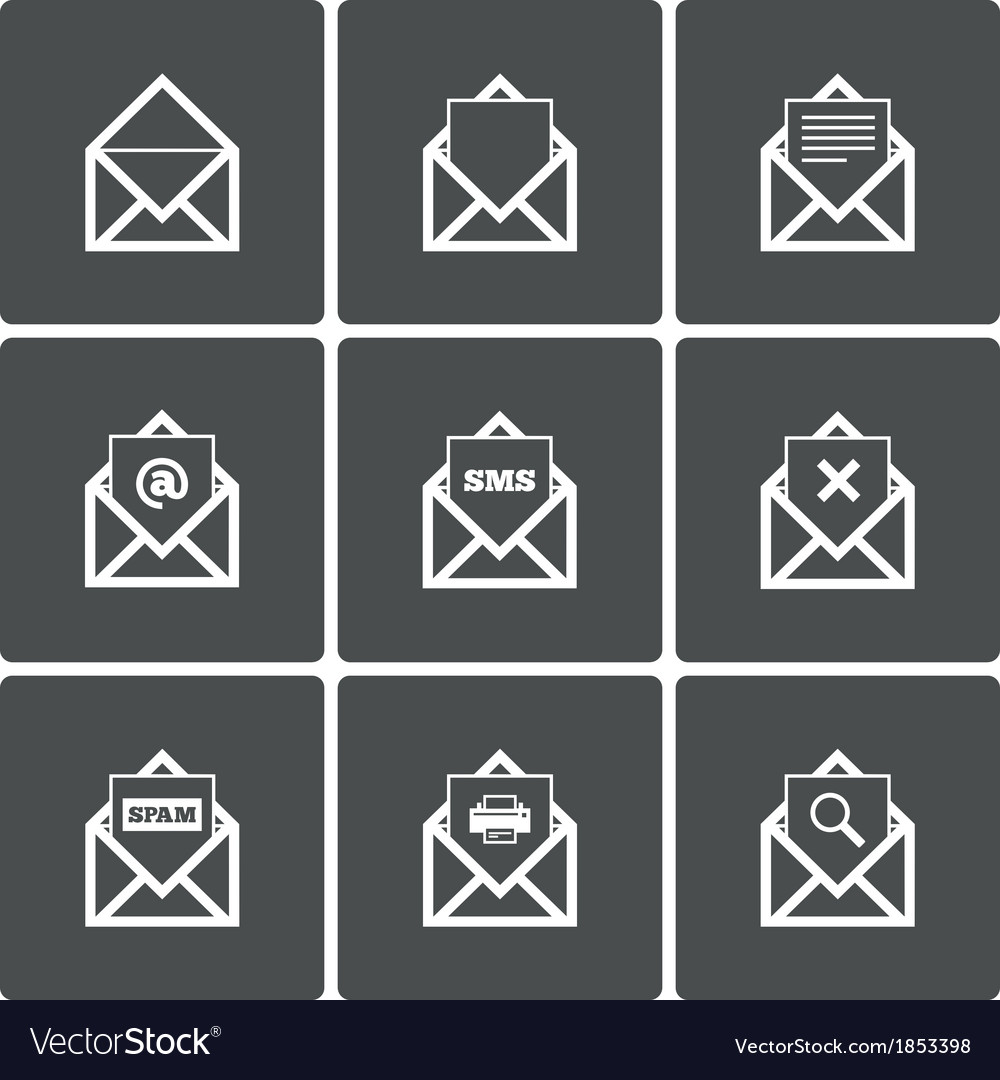 Mail icons mail search symbol print spam vector | Price: 1 Credit (USD $1)