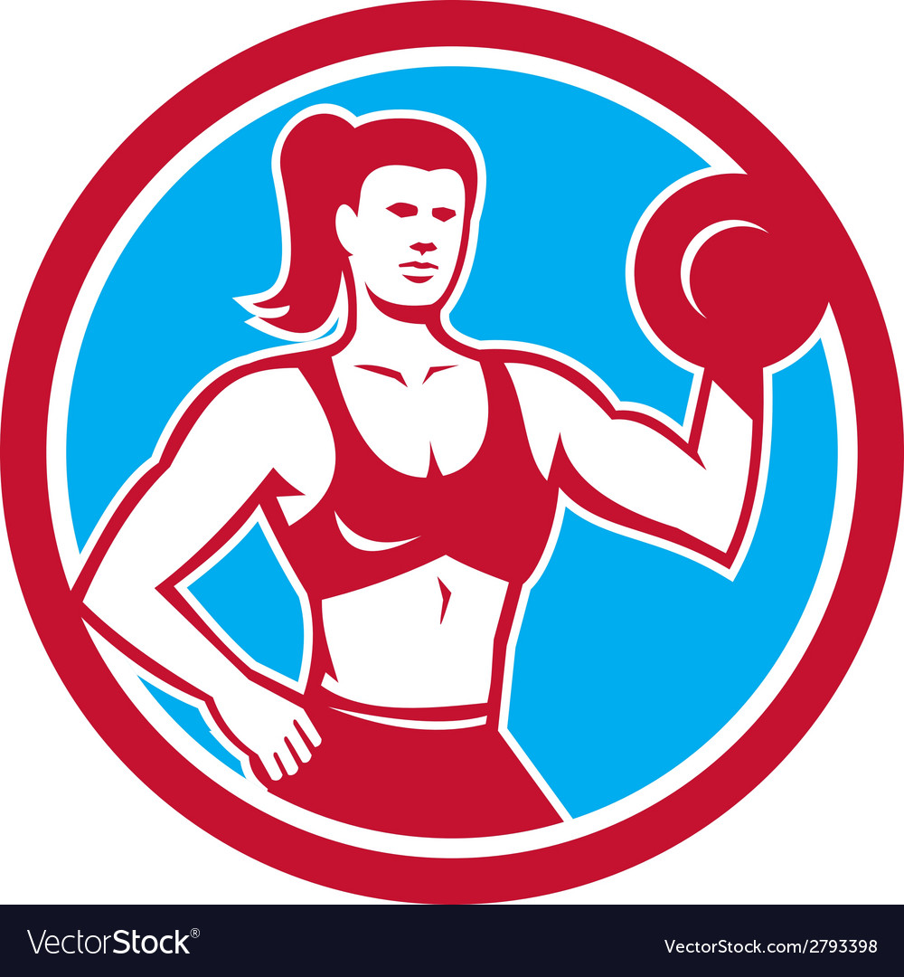 Personal trainer female lifting dumbbell circle vector | Price: 1 Credit (USD $1)
