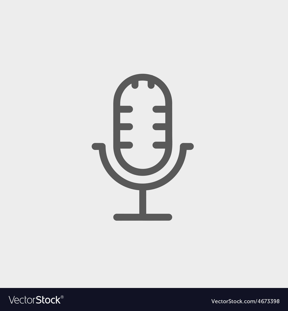 Retro microphone thin line icon vector | Price: 1 Credit (USD $1)