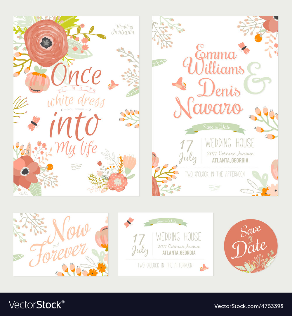 Vintage romantic floral save the date invitation vector | Price: 1 Credit (USD $1)