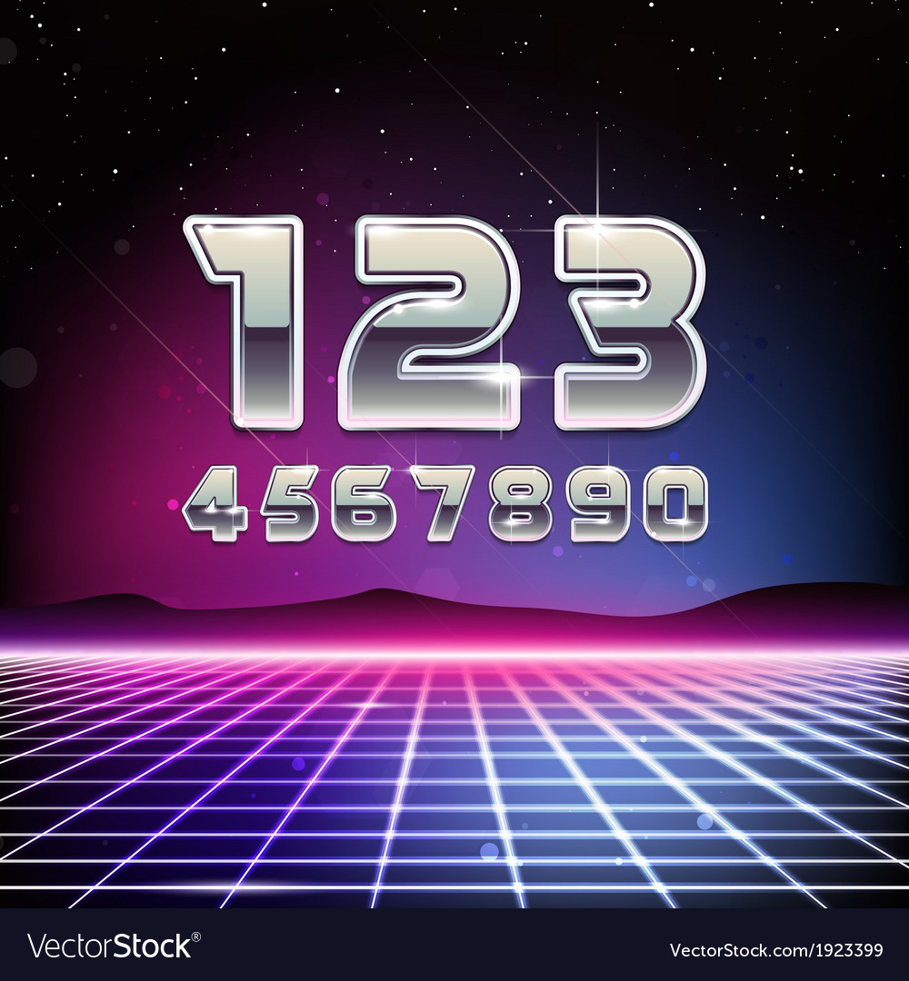80s retro sci-fi digits vector | Price: 1 Credit (USD $1)