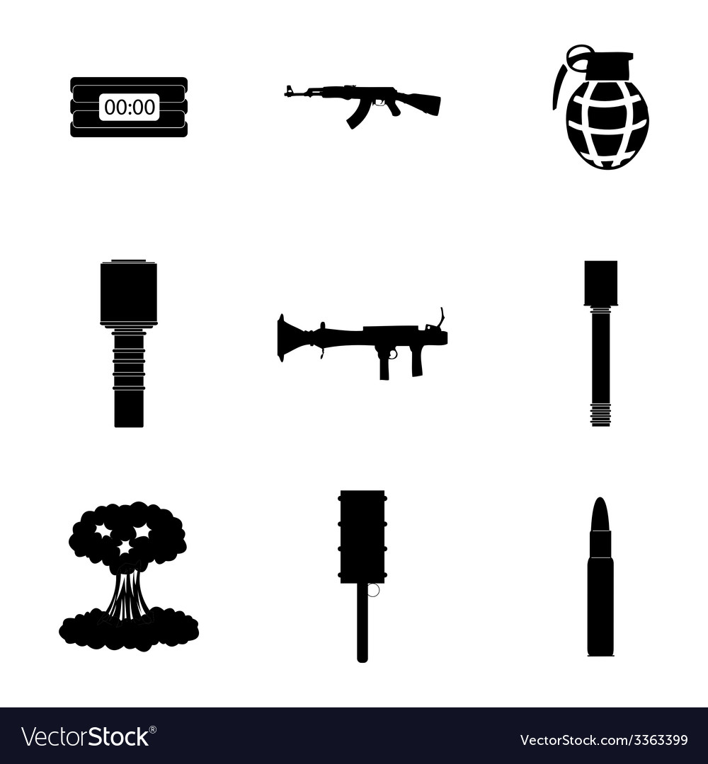 Black terrorism icons set vector | Price: 1 Credit (USD $1)