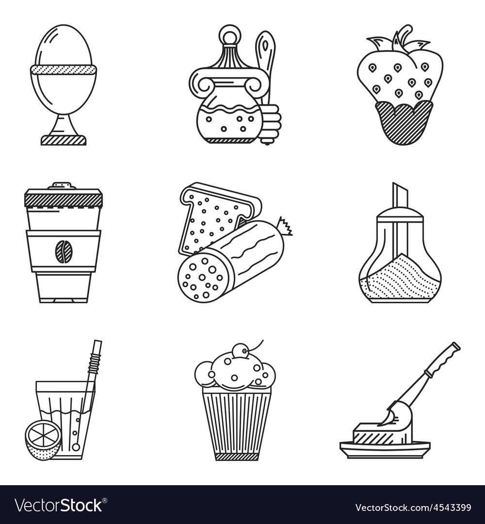 Breakfast menu black line icons vector | Price: 1 Credit (USD $1)