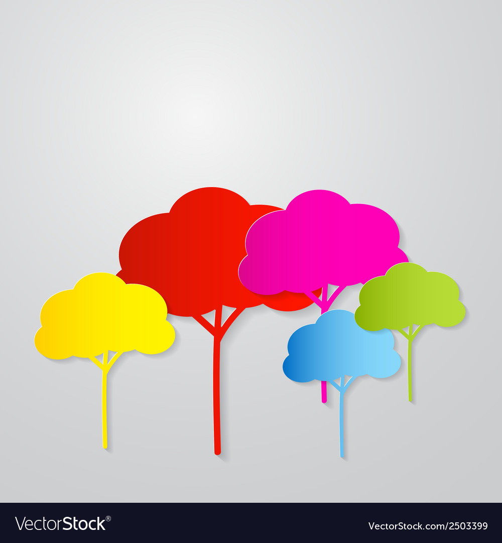 Colorful trees cut from paper on grey backgr vector | Price: 1 Credit (USD $1)