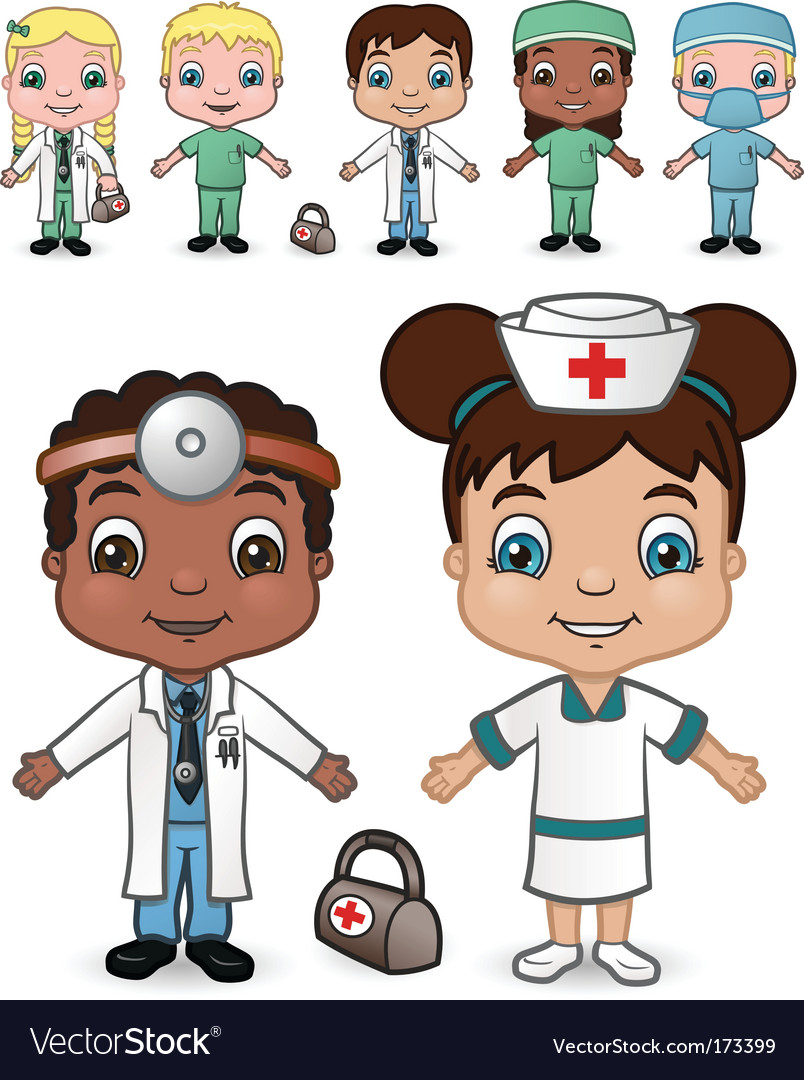 Doctors and nurses set vector | Price: 1 Credit (USD $1)