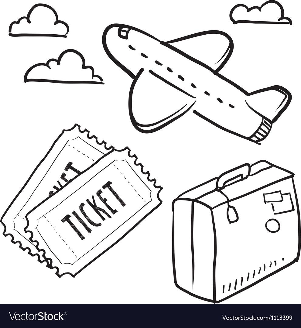 Doodle travel plane flight vector | Price: 1 Credit (USD $1)