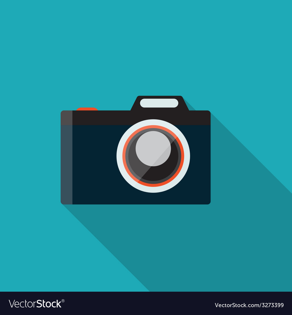 Flat design concept camera with long shadow vector | Price: 1 Credit (USD $1)