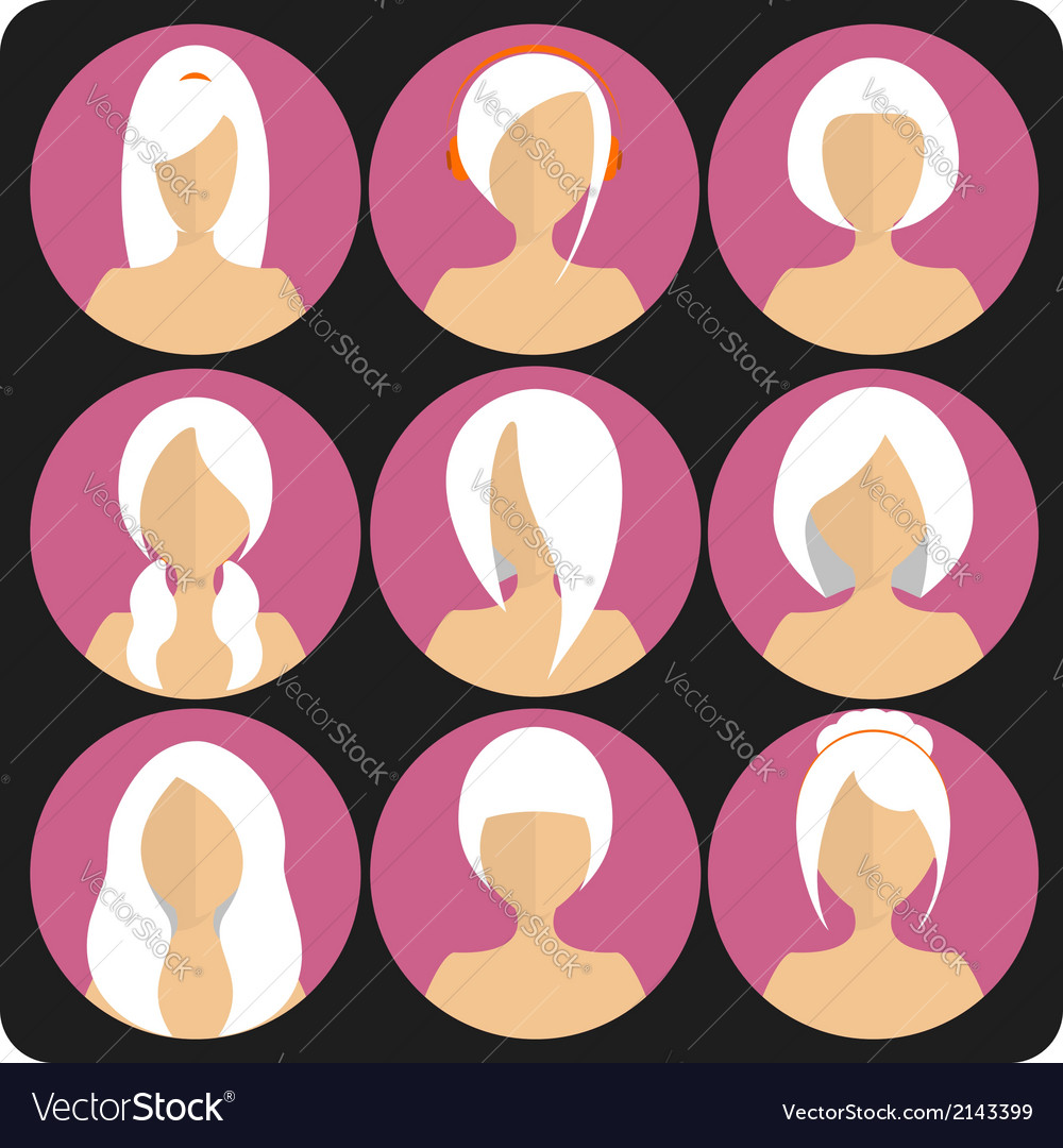 Flat womens glamor hairstyles pink icon set vector | Price: 1 Credit (USD $1)