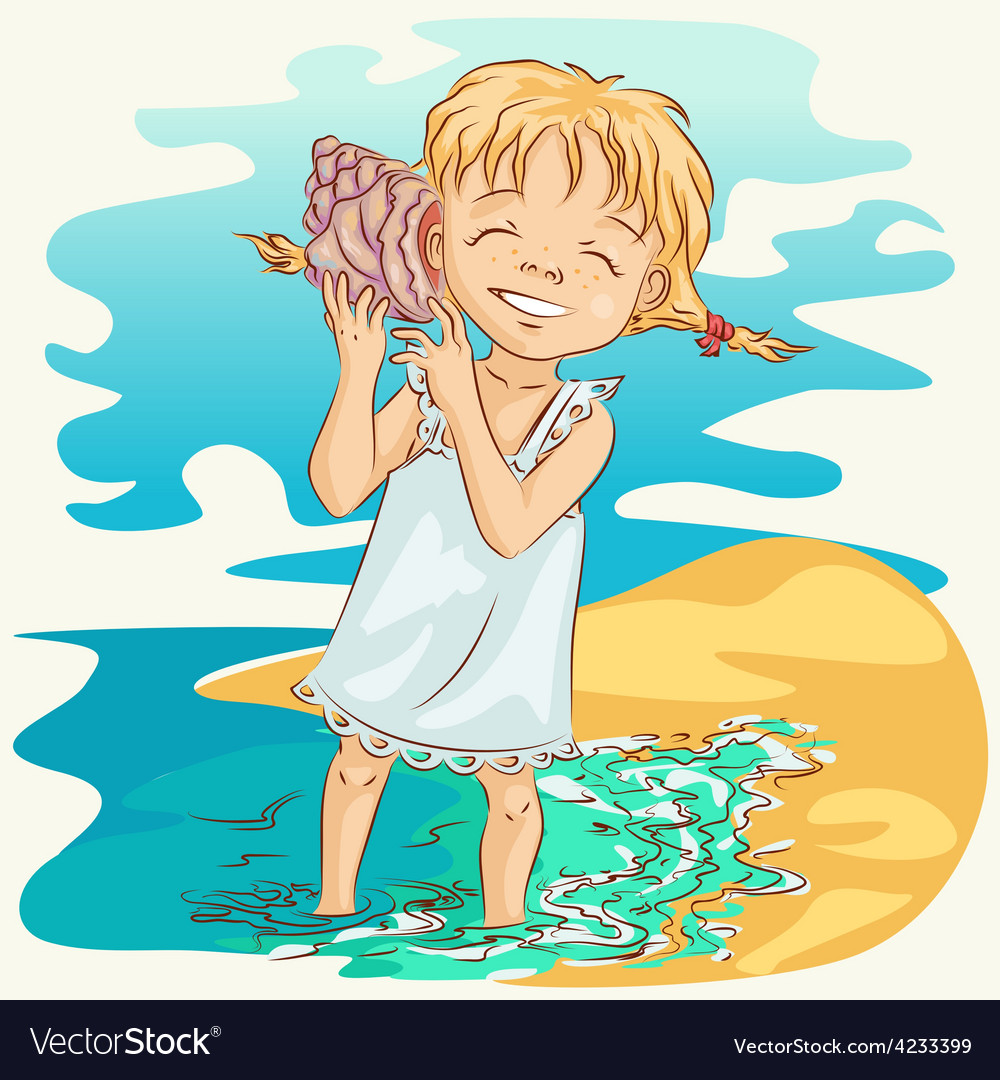 Girl with seashell vector | Price: 1 Credit (USD $1)