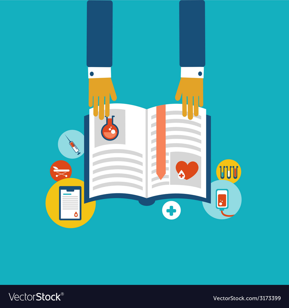 Hands holding a book with information on the vector | Price: 1 Credit (USD $1)