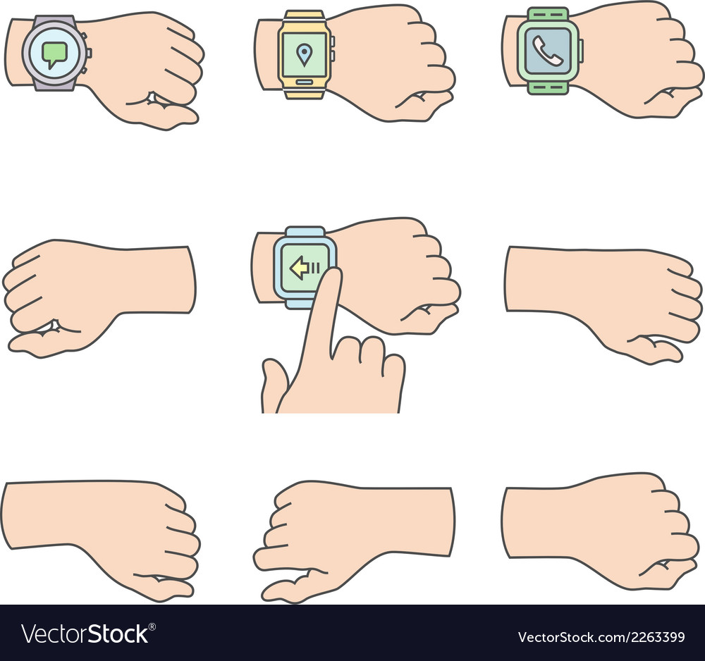 Hands with smartwatch icons vector   Price: 1 Credit (USD $1)