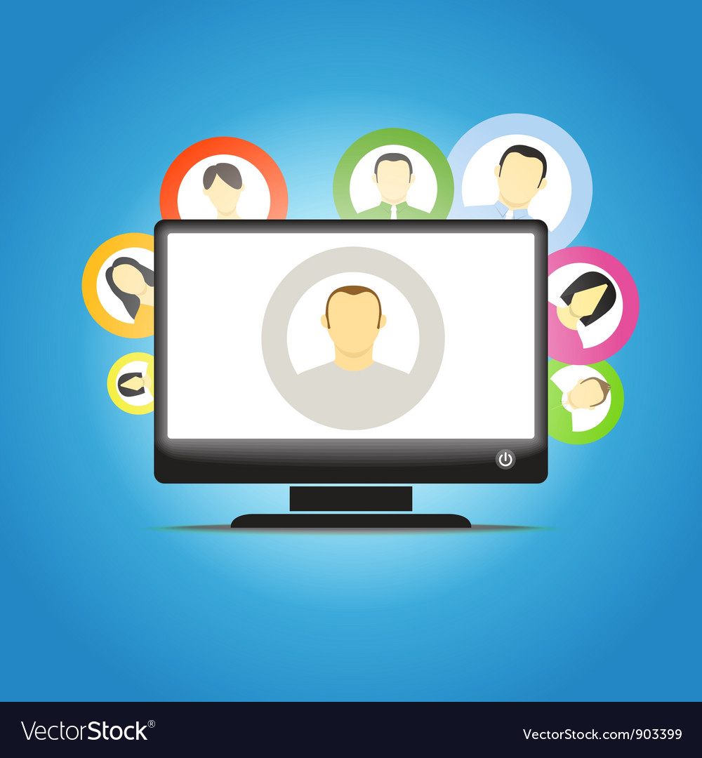 Monitor and social media members vector | Price: 1 Credit (USD $1)
