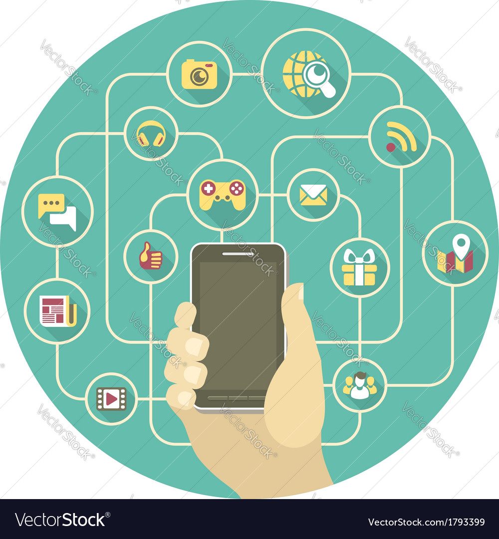 Social networking by a smartphone vector | Price: 1 Credit (USD $1)