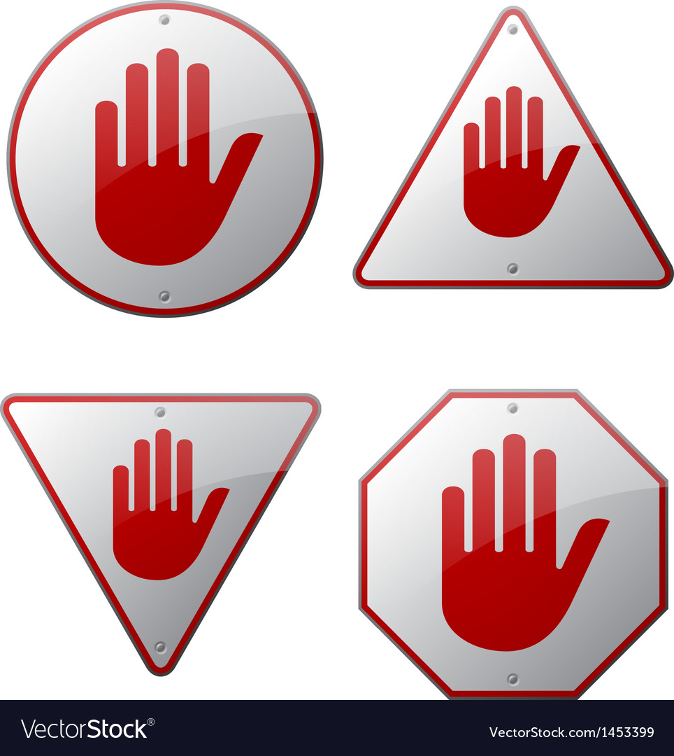 Stop hand signs vector | Price: 1 Credit (USD $1)