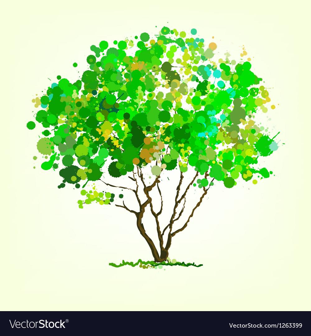 Summer tree of blots background vector | Price: 1 Credit (USD $1)