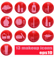 Makeup icons on red vector