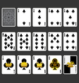 Club suit playing cards full set vector