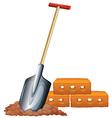 A shovel and bricks vector