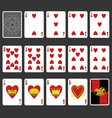 Heart suit playing cards full set vector
