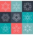 Set of elegant lineart logo design elements vector