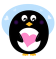 Cute valentine penguin with pink love heart vector