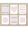 Hand drawn valentines day greeting cards set vector