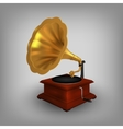 Retro old gramophone with horn vector