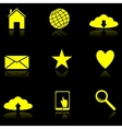 Yellow web icons on the black vector