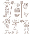Farmers and animals vector