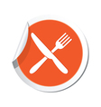 Knife and fork orange label vector