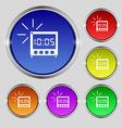 Digital alarm clock icon sign round symbol on vector