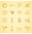 Generic travel iconset contour flat vector