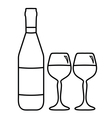 Wine bottle and two glasses vector