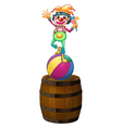 A playful clown above the wooden barrel vector