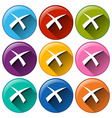 Round buttons with exit signs vector