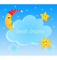 Cute card with funny moon and stars vector