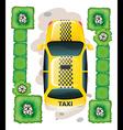 A topview of a yellow taxi vector