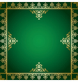 Green background with golden victorian ornament vector