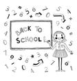 Back to school schoolgirl at the blackboard vector