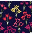 Seamless pattern with bunches of tulips on a dark vector