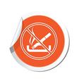 No smoking orange label vector